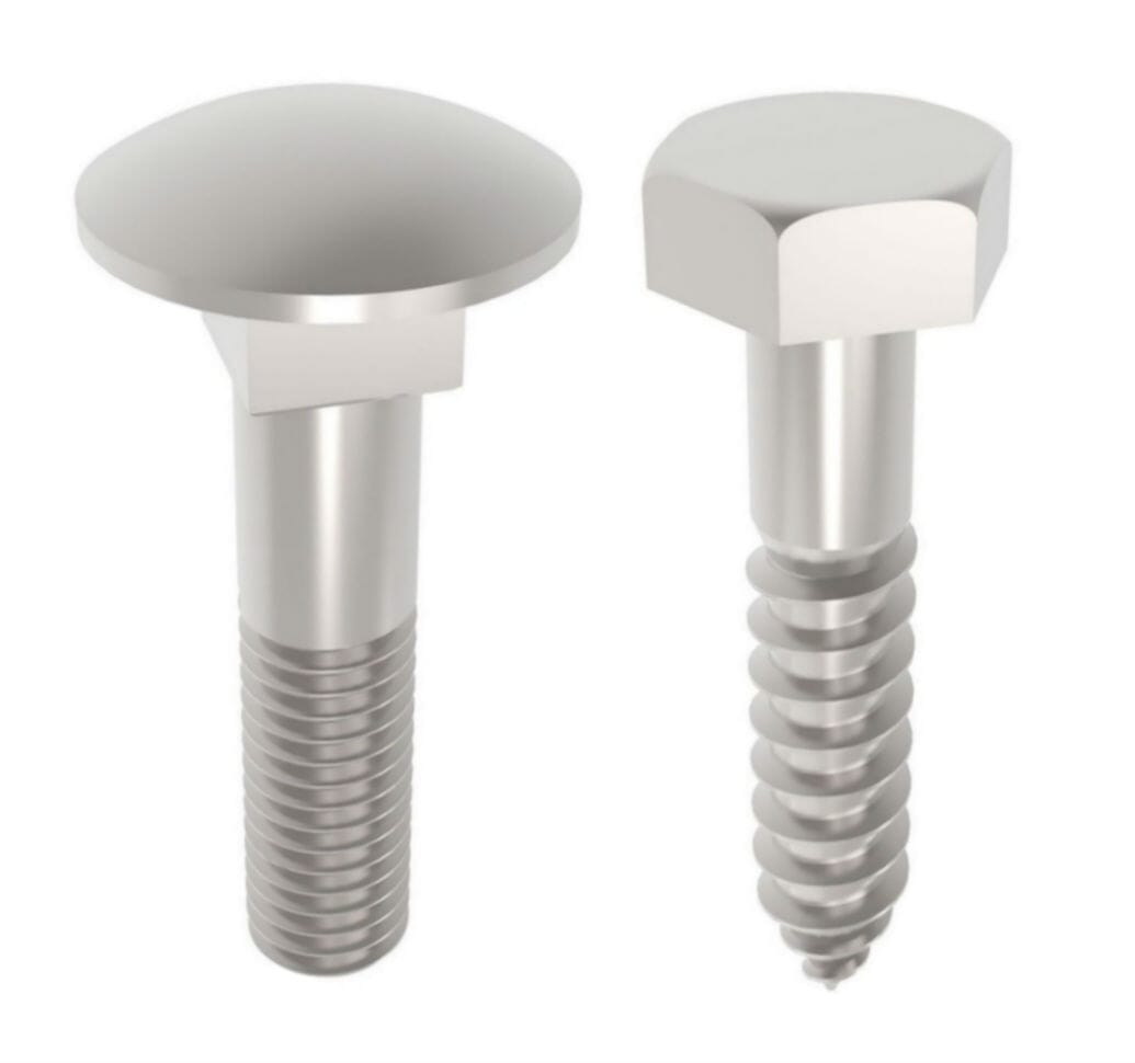 Accu's definition of a carriage bolt, pictured left, and coach bolt, pictured right.